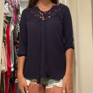 Navy Blue 3/4 Length Sleeve Top with Floral Detail